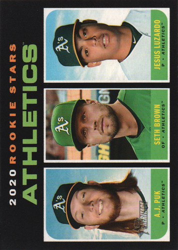 Photo of 2020 Topps Heritage #317 Jesus Luzardo RC/A.J. Puk RC/Seth Brown RC