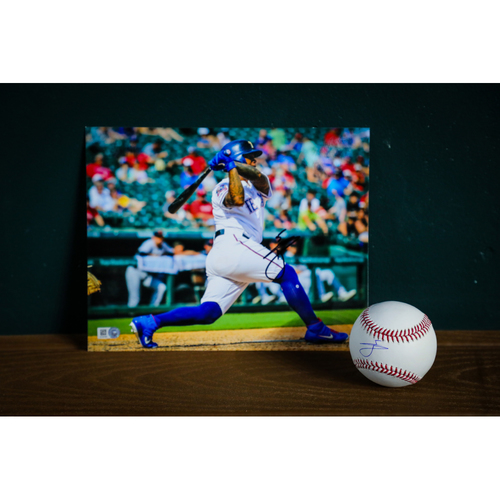 Photo of Willie Calhoun Autographed Baseball and 8x10 Photo