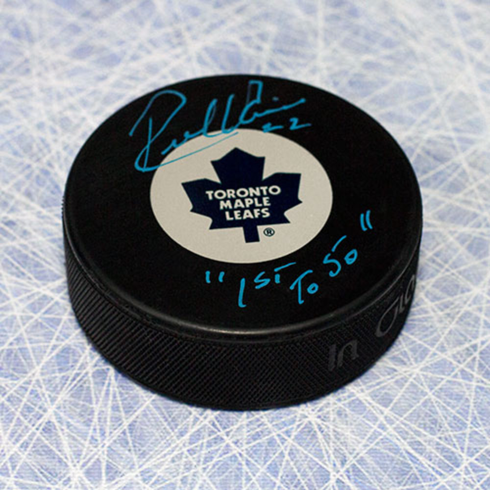 Rick Vaive Toronto Maple Leafs Autographed Hockey Puck w 1st to 50 Inscription