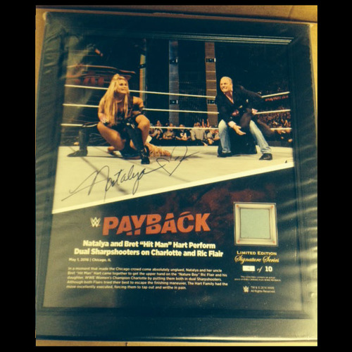 Natalya SIGNED Payback 2016 15 x 17 Framed Ring Canvas Photo Collage Plaque