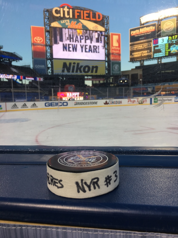 J.T. Miller New York Rangers Game-Used Goal Puck from the 2018 Winter Classic on January 1, 2018 vs. Buffalo Sabres - Game Winning Overtime Goal