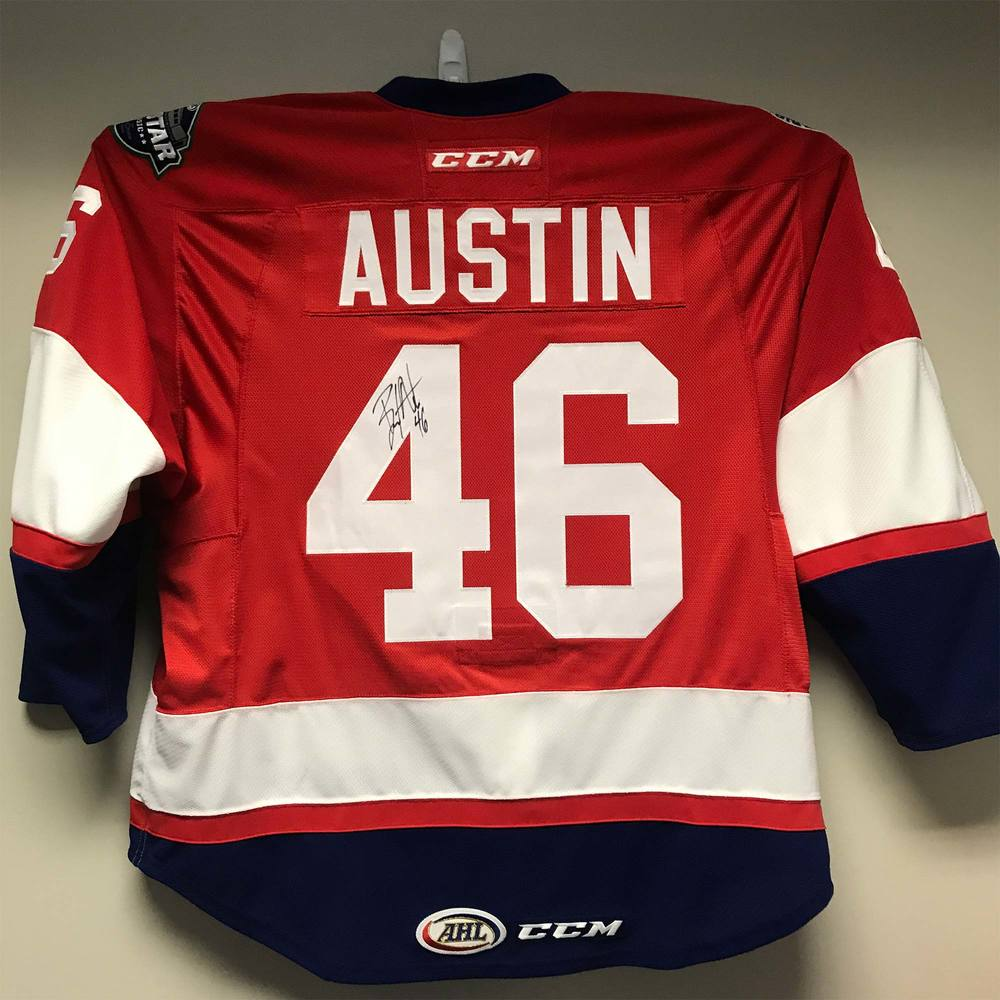 2018 AHL All-Star Challenge Warm-Up Jersey Worn and Signed by #46 Brady Austin