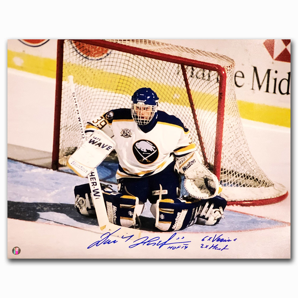 Dominik Hasek Autographed Buffalo Sabres 16X20 Photo w/6X VEZINA & 2X HART Inscriptions