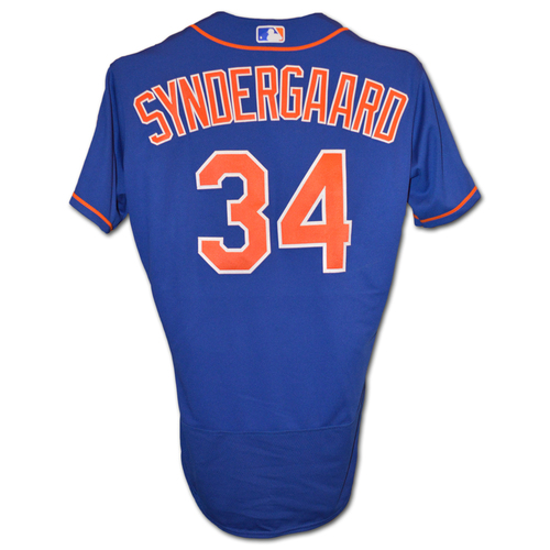 Photo of Noah Syndergaard #34 - Game Used Blue Alt. Home Jersey - First Career Complete Game Shutout, Earns 13th Win - Mets vs. Marlins - 9/30/18