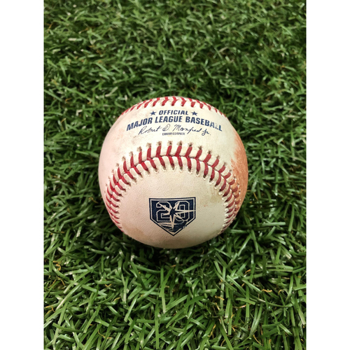 Photo of 20th Anniversary Game-Used Baseball: Aaron Judge single and Luke Voit ball in dirt against Yonny Chirinos - September 26, 2018 v NYY