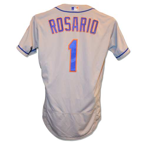 Photo of Amed Rosario #1 - Game Used Road Grey Jersey - 2-5, HR - Mets vs. Yankees - 8/13/18
