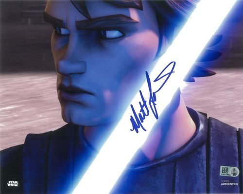 Matt Lanter As Anakin Skywalker 8x10 Autographed in Blue Ink