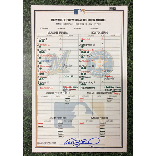 Photo of MIL@HOU 06/12/19 Game-Used Lineup Card - Justin Verlander Career High 15 Strikeouts