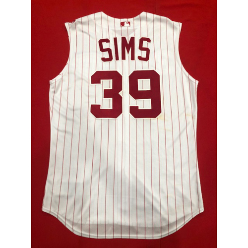 Photo of Lucas Sims -- Game-Used 1995 Throwback Jersey & Pants-- D-backs vs. Reds on Sept. 8, 2019 -- Jersey Size 46 / Pants Size 36-41-33