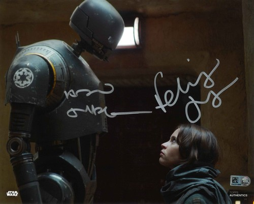 Felicity Jones as Jyn Erso and Alan Tudyk as K-2SO 8X10 AUTOGRAPHED IN 'SILVER' INK PHOTO