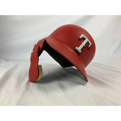 Photo of Game-Used Red Helmet - Willie Calhoun - 9/28/2017 A's at Rangers - Rookie Season