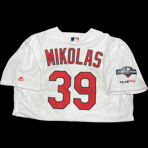 Photo of Miles Mikolas Autographed Team Issued Home Jersey w/ 2019 Postseason Patch (Size 50)