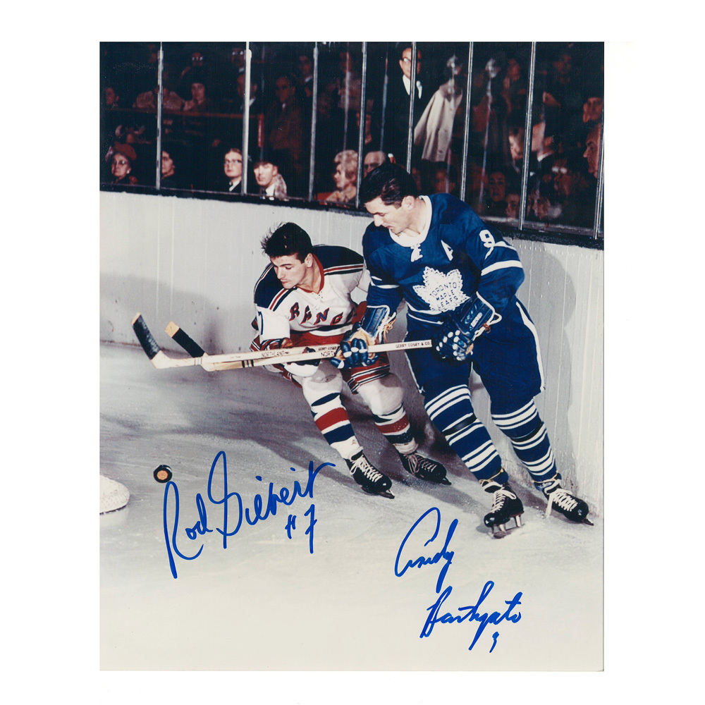 ROD GILBERT & ANDY BATHGATE Signed Vintage 8 X 10 Photo - New York Rangers / Toronto Maple Leafs - 70037