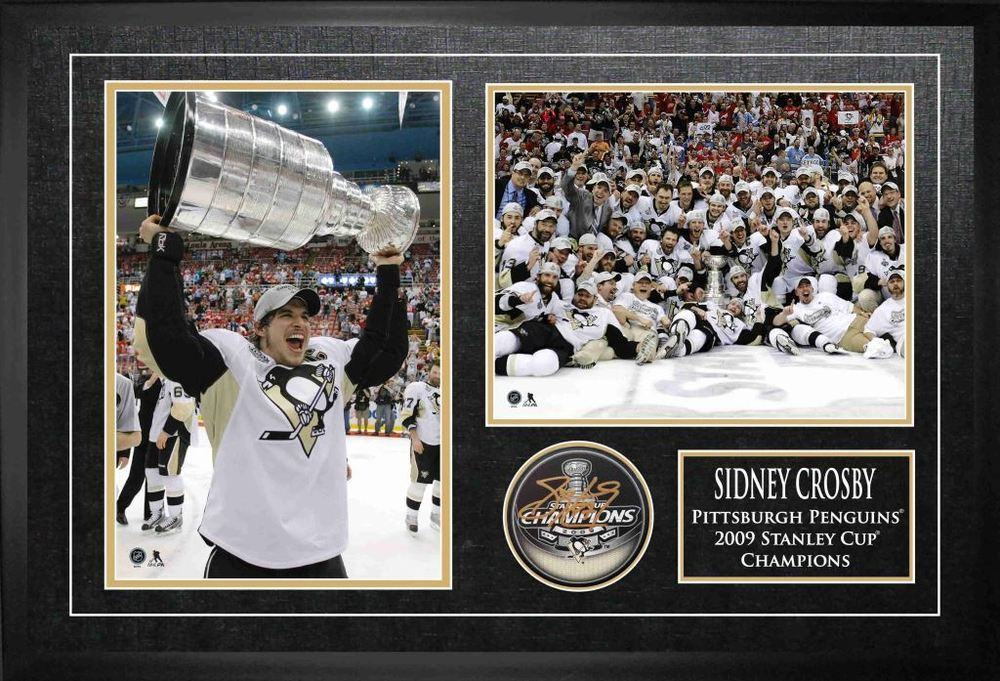 Sidney Crosby - Signed & Framed 2009 Stanley Cup Champions Puck with Double Photo Etched Mat