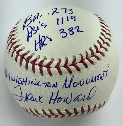 Photo of Frank Howard Autographed 'STAT' Inscription Baseball