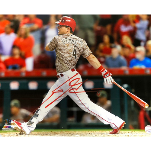 Photo of Scooter Gennett -- Autographed 4-Home Run Game Photo -- Signed with Jersey #4 (16'' x 20'')