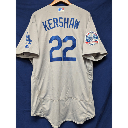 Photo of Kershaw's Challenge: Clayton Kershaw Game-Used Road Jersey - 5/1/18