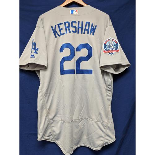 Photo of Kershaw's Challenge: Clayton Kershaw Game-Used Road Jersey - 5/1/18