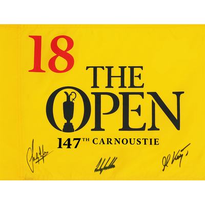 Photo of Sandy Lyle, Martin Kaymer, Andy Sullivan, The 147th Open Carnoustie Autographed Souvenir Pin Flag