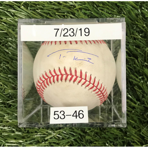 Win #53: 7/23/2019 Game-Used Baseball - Autographed by Trea Turner
