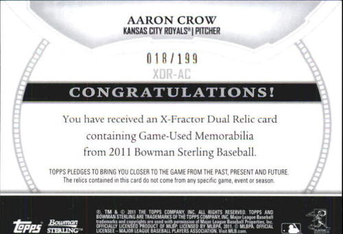 Photo of 2011 Bowman Sterling Rookie Dual Relic X-Fractors #AC Aaron Crow
