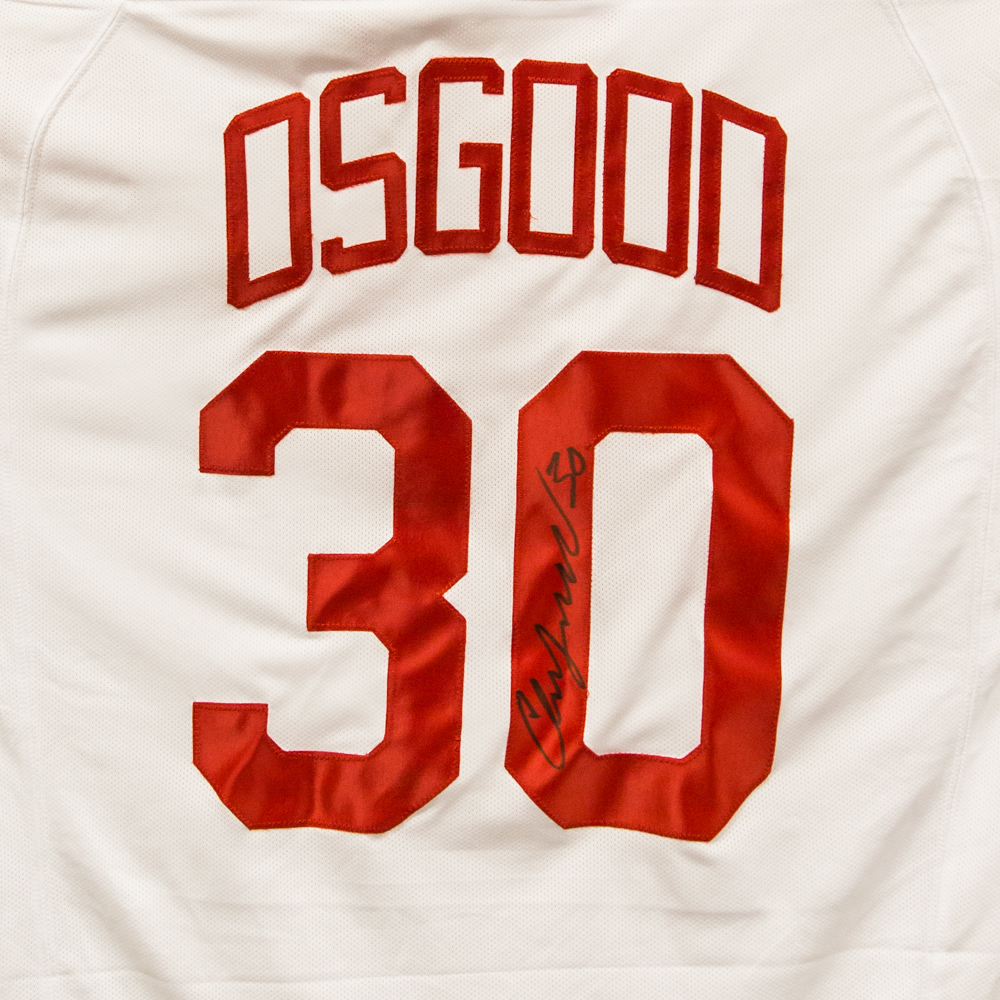 Autographed Chris Osgood Jersey from Nicklas Lidstrom Jersey Retirement Night - Detroit Red Wings