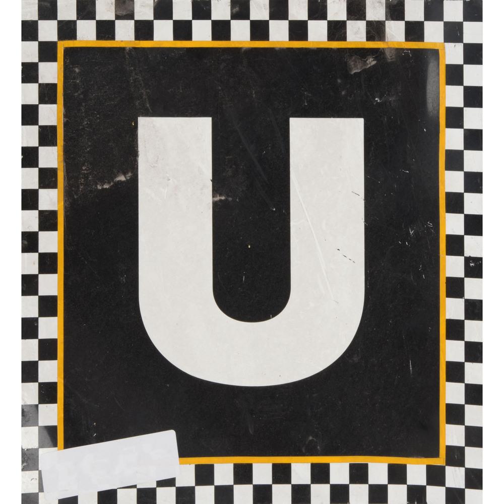Daytona International Speedway Black with Checkerd Trim Letter U 12