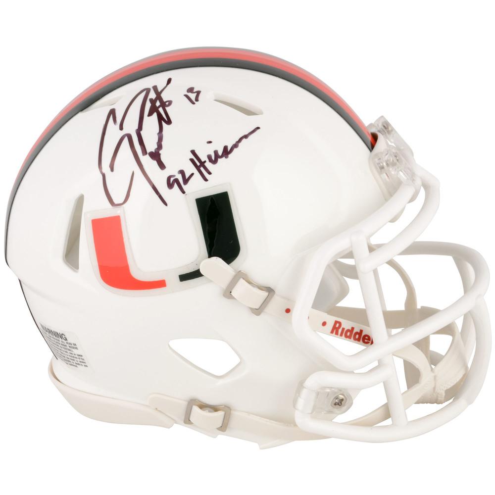 Gino Torretta Miami Hurricanes Autographed Mini Helmet with 1992 Heisman Inscription