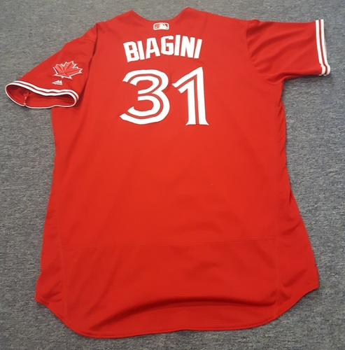 Authenticated Game Used Jersey - #31 Joe Biagini (April 16, 2017: 0.2 IP with 1 hit and 0 ER. July 1, 2017). Size 52.