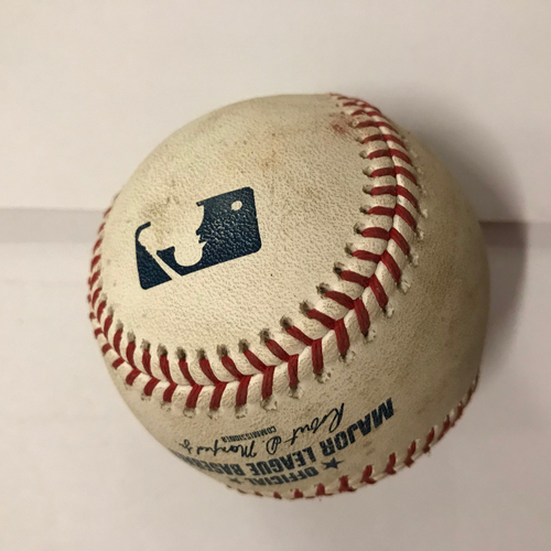 Photo of Mike Foltynewicz Game Used Pitched Baseball - June 25, 2018 - Batter: Tucker Barnhart, Fly Out