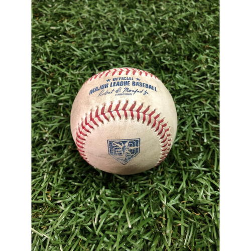 Photo of 20th Anniversary Game-Used Baseball: Giancarlo Stanton single off Matt Andriese - July 23, 2018 v NYY
