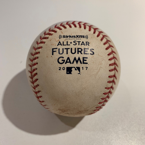 Photo of 2017 All Star Futures Game - Game Used Baseball - Batter: Chance Sisco Pitcher: Mike Soroka -  Bottom 3rd -  Pitch In The Dirt