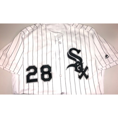 Photo of Leury Garcia Game-Used White Pinstripe Jersey - June 23, 2018 Size 42