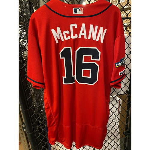 Photo of Brian McCann Game Used Home Red NLDS Game 2 Jersey - Worn 10/4/19 Innings 1-3