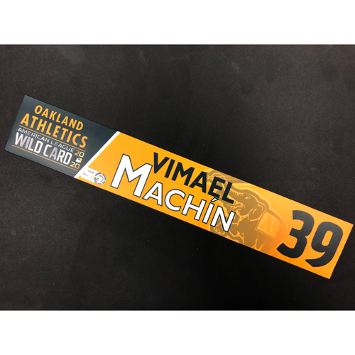Photo of Game-Used 2020 A.L. Wild Card Locker Nameplate - Vimael Machin