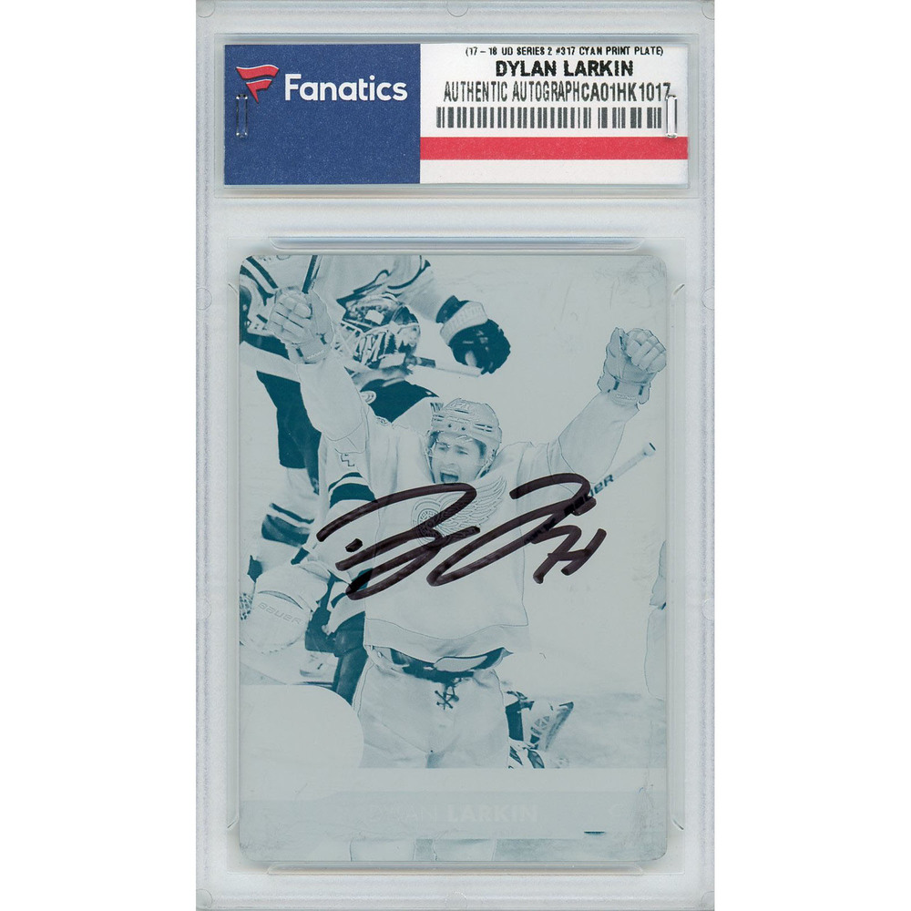 Dylan Larkin Detroit Red Wings Autographed 2017-18 Upper Deck Series Two #317 Cyan Printing Plate Card - LE of 1