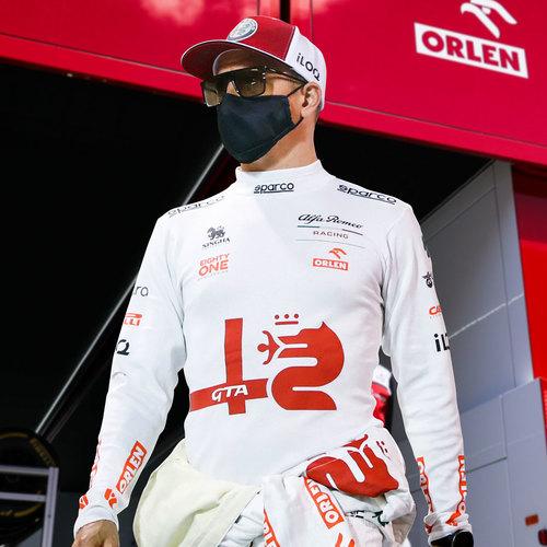 Photo of Kimi Raikkonen 2021 Framed Signed Race-worn Nomex - Spanish GP
