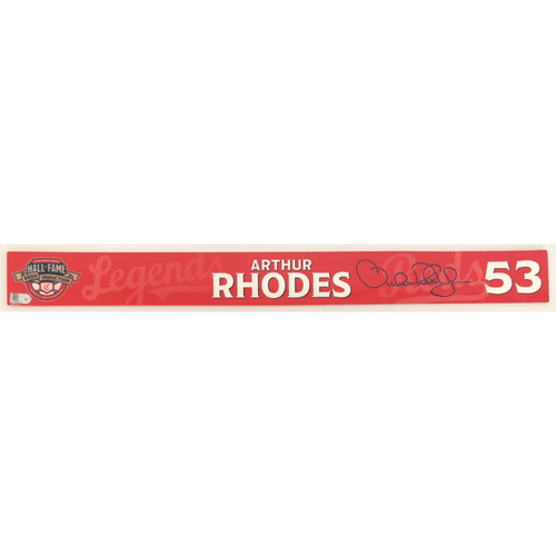 Photo of Arthur Rhodes - Game-used and Autographed Locker Name Plate: 2021 Cincinnati Reds Hall of Fame Legends Game