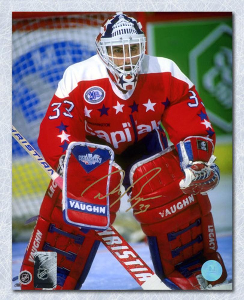 Don Beaupre Washington Capitals Autographed Goalie Net Close-Up 8x10 Photo