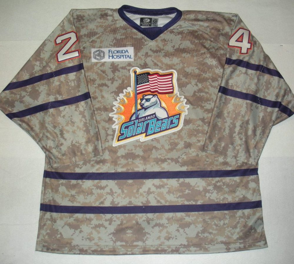 Orlando Solar Bears - Josh Caron - Military Appreciation Night Camo Game-Issued Jersey
