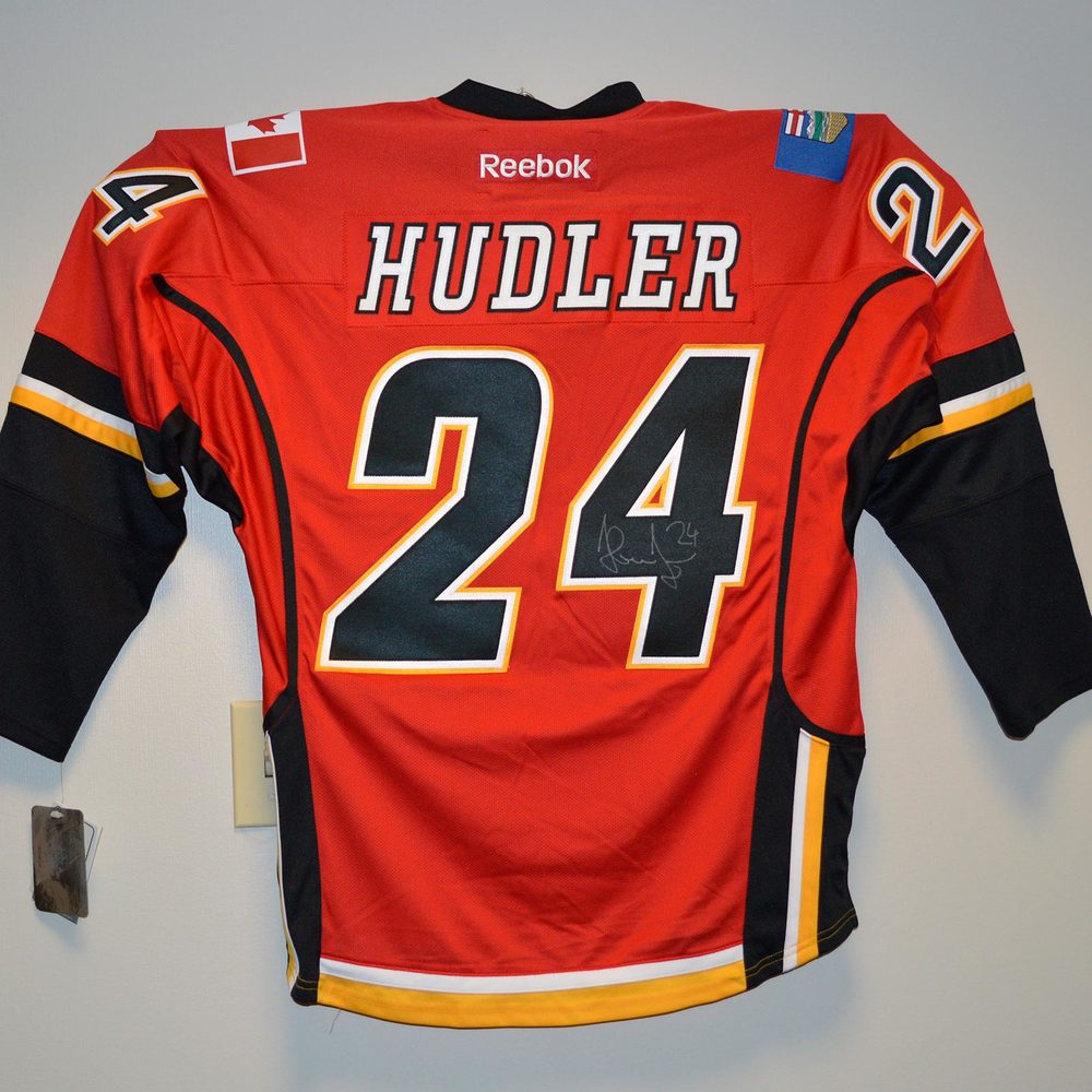 Calgary Flames Replica Jersey Signed by #24 Jiri Hudler