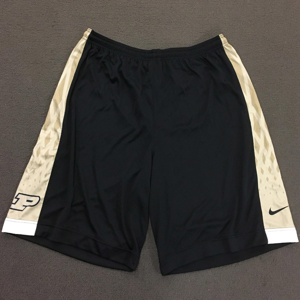 Photo of Purdue Men's Basketball Play Hard Nike Shorts 3XL Black Shorts with Gold Side Stripe