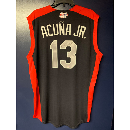 Photo of Ronald Acuna Jr. 2019 Major League Baseball Workout Day Autographed Jersey