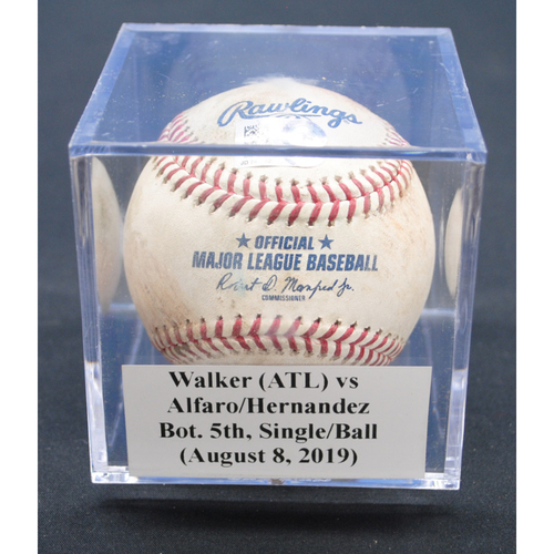 Photo of Game-Used Baseball: Jeremy Walker (ATL) vs Jorge Alfaro/Elieser Hernandez, Bot. 5th, Single/Ball - August 8, 2019