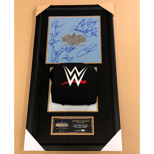 Photo of WrestleMania 34 SIGNED Ring Canvas and Turnbuckle Break-Thru Frame (Multiple Superstars) #6 of 12