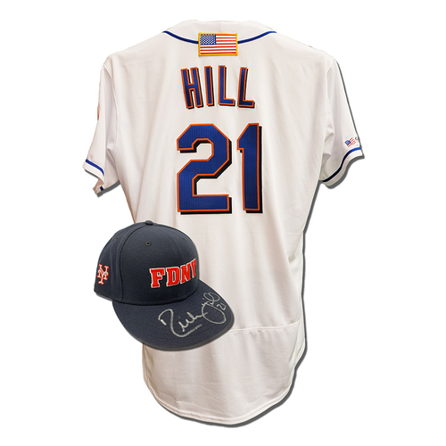 Photo of Rich Hill #21 - Autographed Game Used First Responder Hat and Game Used White Commemorative Jersey with American Flag Patch - Mets vs. Yankees - 9/11/2021