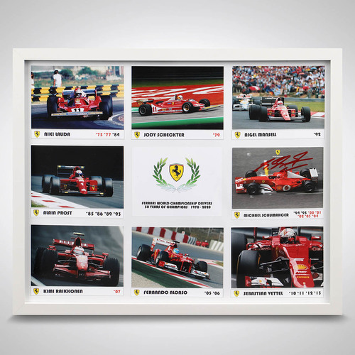 Photo of Ferrari Photograph Display With Signed Michael Schumacher Driver Card
