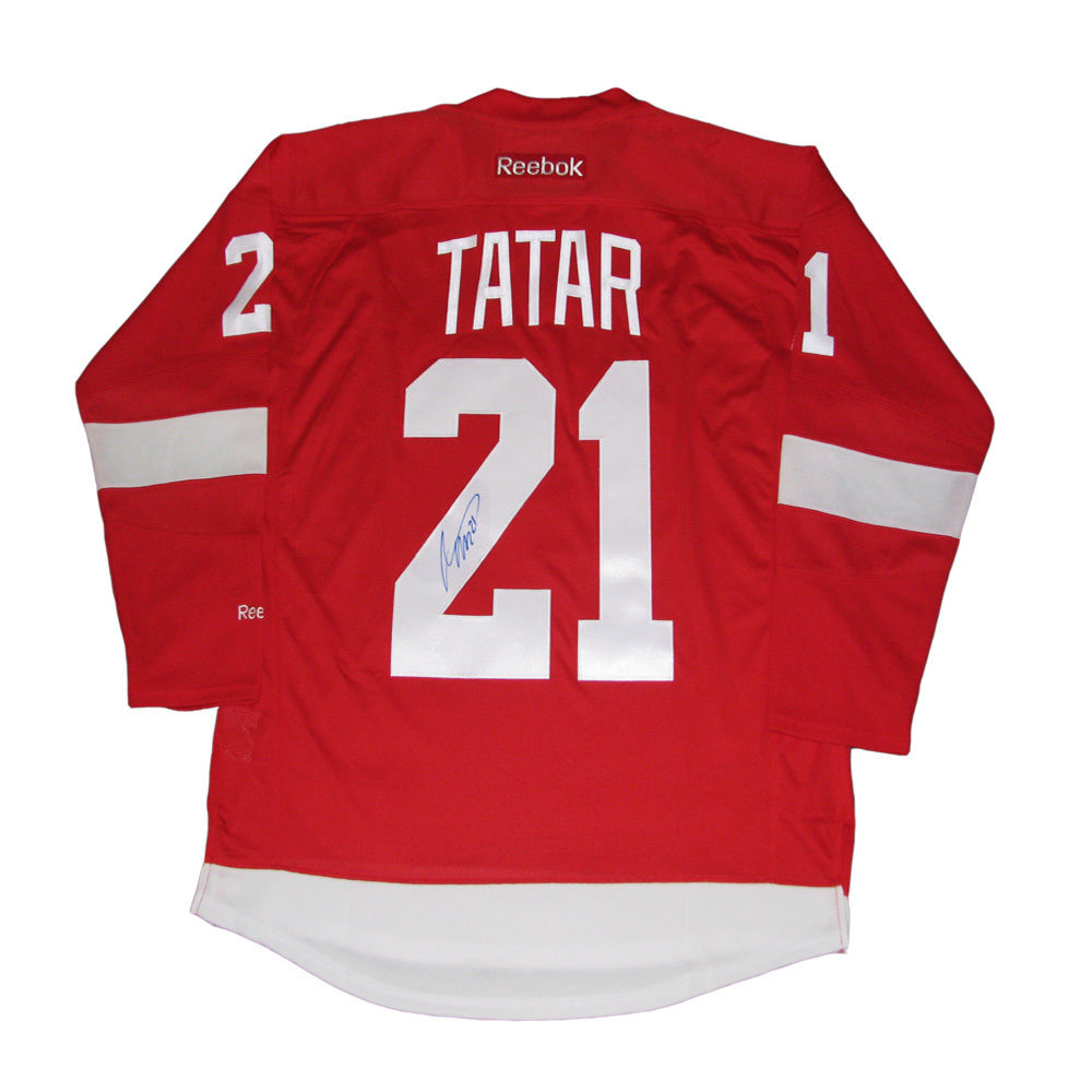 TOMAS TATAR Signed Detroit Red Wings Red Reebok Jersey