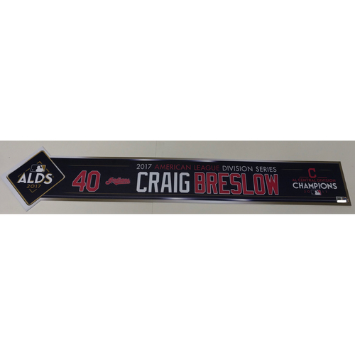Photo of Craig Breslow Team-Issued 2017 ALDS Locker Name Plate