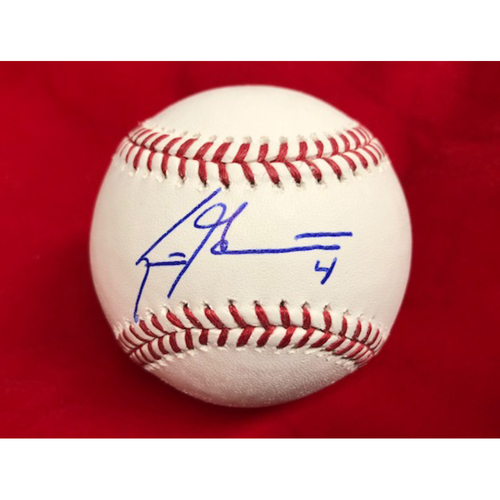Photo of Scooter Gennett -- Autographed Baseball -- Signed with Jersey #4